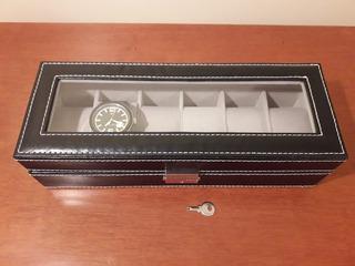Caja Estuche Para Guardar 6 Relojes. (con Visagra De Metal).