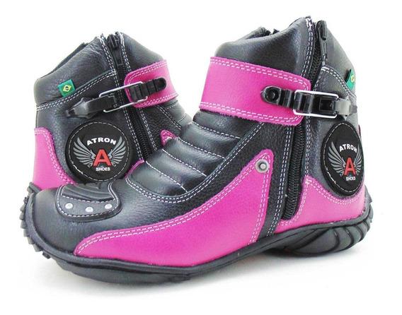 Coturno Bota Feminina Motociclista Proteção Marcha Rosa -271