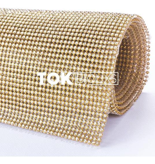 Rolo Manta Strass Original - Dourado - 10x45cm - Promoção!