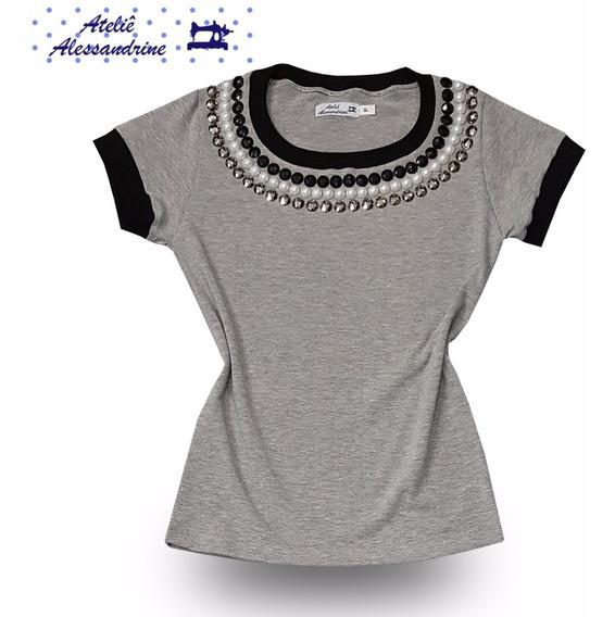 T-shirt Blusinha Camiseta Feminina Bordada Pedraria Pérolas