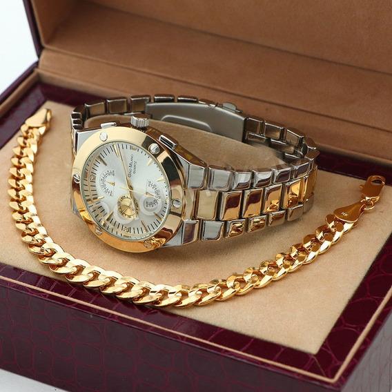 Reloj Gino Milano Y Brasalete De 22 Cm Laminado En Oro 14k