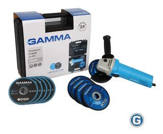 Amoladora Angular 750w Gamma 115mm Kit G1910kar Caja Discos
