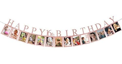 Imagen 1 de 6 de Pancarta De Fotos Con Texto En Inglés «feliz Cumpleaños 16»