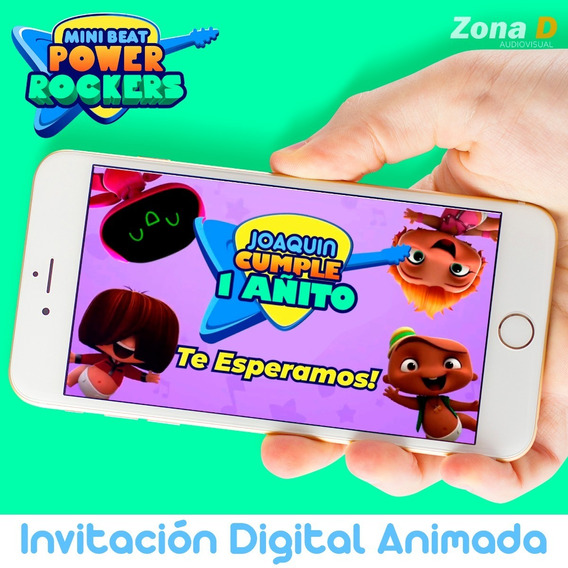 Invitacion Digital Animada - Mini Beat Rockers Power