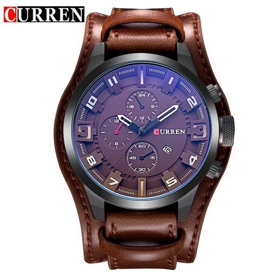 Relógio Militar Esporte Bracelete Curren M8225 Couro