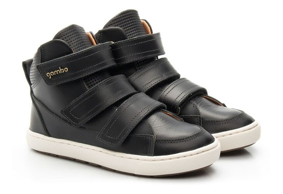 Boot Cano Médio Com Velcro Preto - Gambo