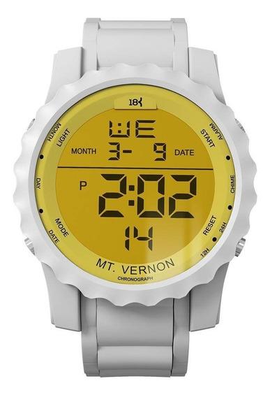 Relógio Masculino Digital 18k Watches Branco Com Amarelo