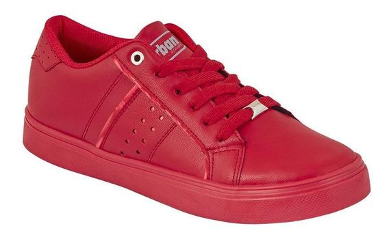 Tenis Sneakers Mujer Casual Urbano Tipo Piel Rojo Cklass