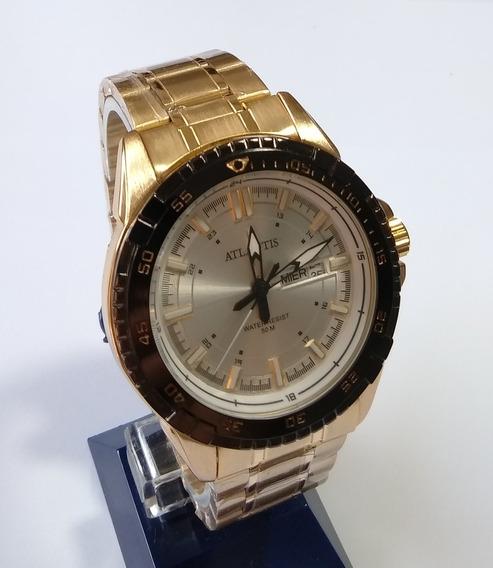 Relógio Masculino Dourado Atlantis Original G-3392.