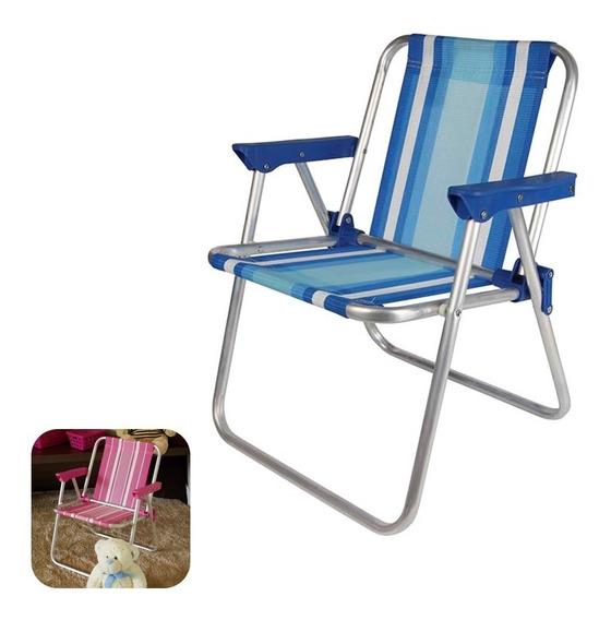 Cadeira Infantil Alta Alumínio Rosa Azul Praia Camping - Mor