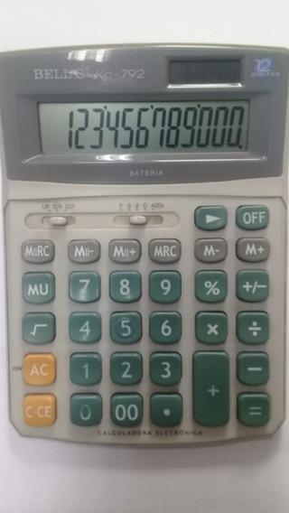 Calculadora De Mesa 12 Dígitos Solar E Pilha Números Grandes