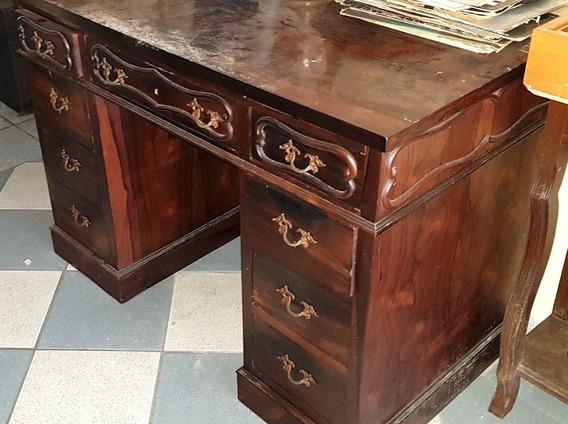 Escrivaninha Antiga Em Madeira Maciça Jacarandá - 9 Gavetas