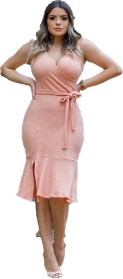 Vestido Midi Babado Moda Evangélica Gospel Justo