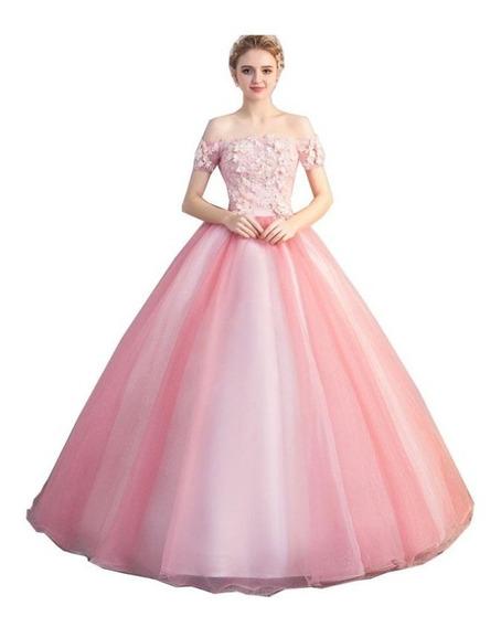Nb67 Vestido De Noiva Debutante Rosa Flores 3d Canoa 15 Anos