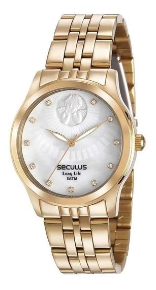 Relógio Seculus Feminino Kit Anjo Da Guarda 28697lpskda1k1