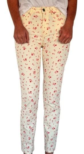 Jean Denim Mujer H&m Estampado Floreado Pantalón