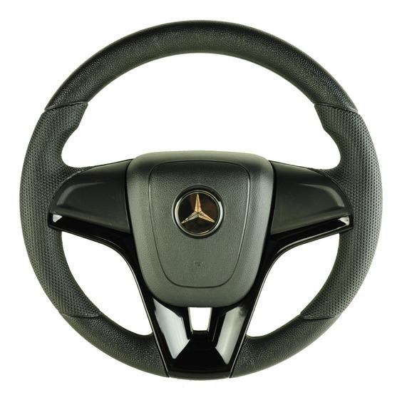 Volante Esportivo Cruze Caminhão Mercedes Benz Preto + Cubo