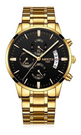 Relógio Nibosi Dourado Cronógrafo A Prova D