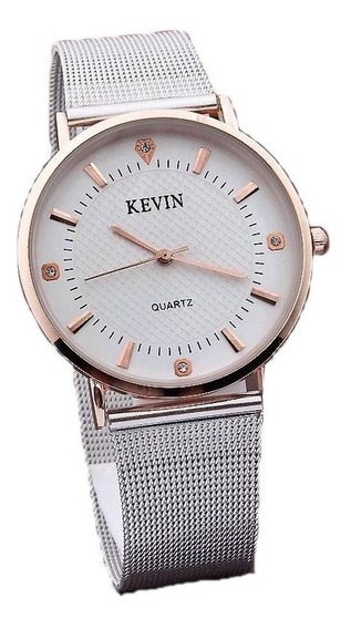Relógio Pulso Feminino Kevin, Em Aço Inox - Quartzo - Branco