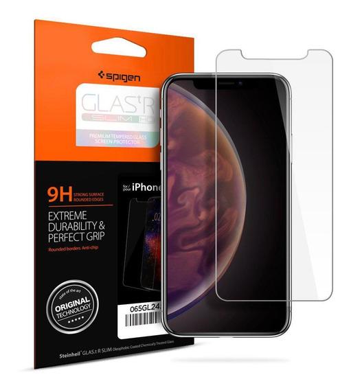 Película Spigen iPhone Xs Max Vidro Temperado Slim Hd 9h