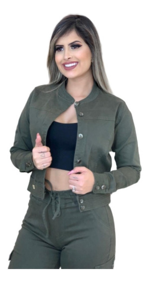 Jaquetinha Jeans Jaqueta Feminina Curta Bolsos Frontais