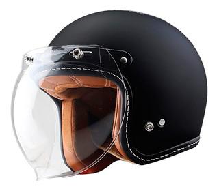 Negro Mate,L56~57cm Horrgasd Cascos 3//4 Motocicleta Chopper Casco De Bicicleta Cara Abierta Casco De Moto Vintage Casco Jet Retro