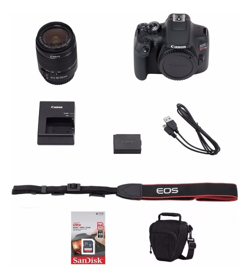 Câmera Canon Rebel T6 C/ 18-55mm + 64gb + Bolsa + Tripé