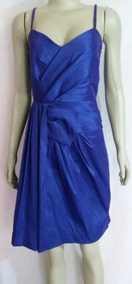 Vestido De Festa Em Tafeta Azul Calvin Klein!