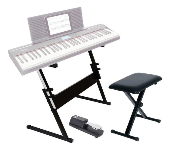 Estante Teclado Piano + Banco + Pedal Sustain Kit 3 Mellody