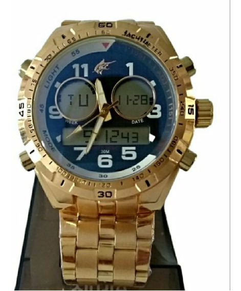 Relógio Masculino Potenzia Dourado Militar Barato Aço