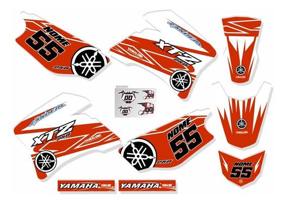 Adesivos Moto Trilha Yamaha Xtz 250 Lander Laranja Ca-16147