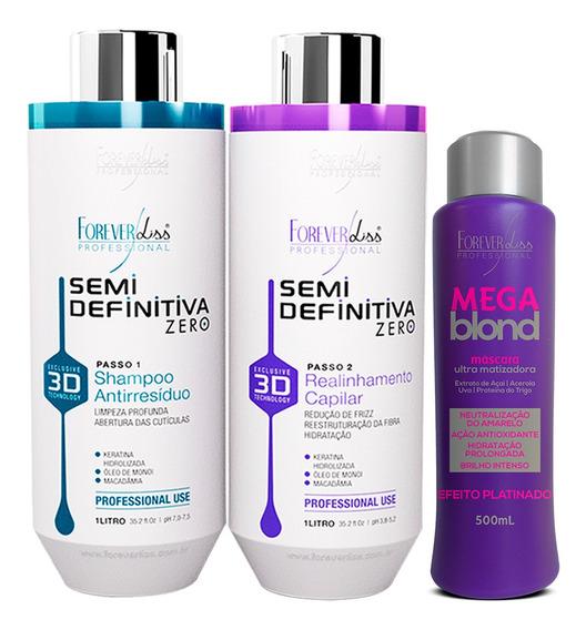 Forever Liss Progressiva 3d S/ Formol + Matizador Mega Blond