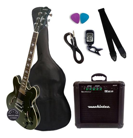 Guitarra Semi Acústica Strinberg Shs300 Bk + Kit Completo