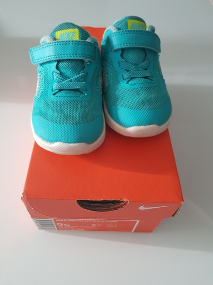 Tênis Nike Revolution 3 Infantil Verde Seminovo Tamanho 20