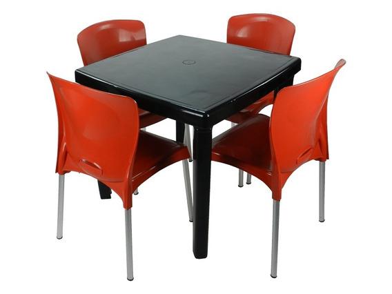 Jogo 1 Mesa 4 Cadeira Plástico Linda Forte Copa Cozinha Área