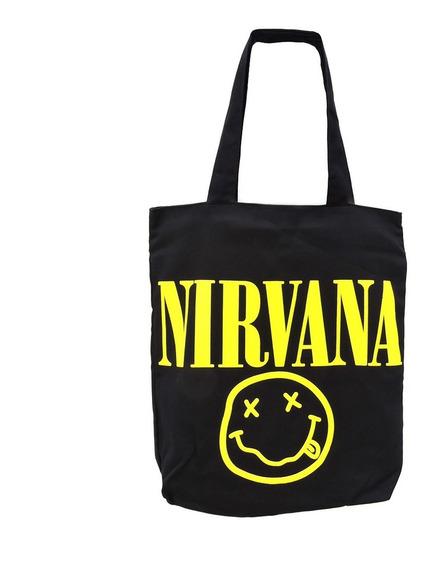 Bolsa Rock Nirvana Banda Ecobag Passeio Ziper