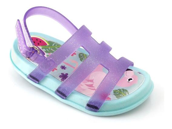 Sandália Infantil Menina Bebe Flamingo Lilás Verde Princesa Verão Plugt Sapato Sapatinho Original Com Nota Fiscal