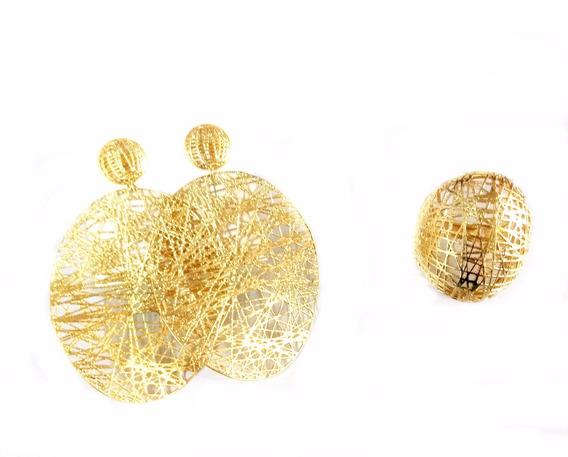 Semi Jóias Anel N°20 E Brinco Dourado Banhado Ouro