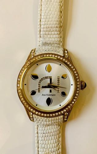 Relógio Ana Hickmann Branco Couro Excelente Estado