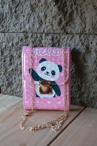Cartera Bandolera Billetera Panda Para Nenas Con Cadena