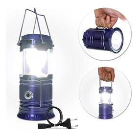 Lampião Led Luminária Recarregável Solar Camping Pesca Azul