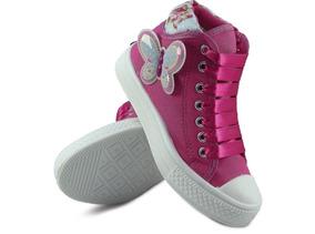 Tênis Infantil Cano Alto Pink De Borboleta