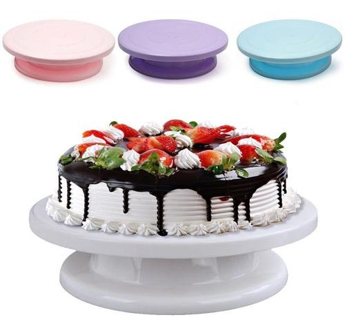 Base Soporte Plato Giratorio Para Torta Plastico 28 Cm