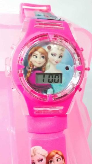 Relógio Infantil Frozen Lindo E Maravilhoso Led Toca Musica