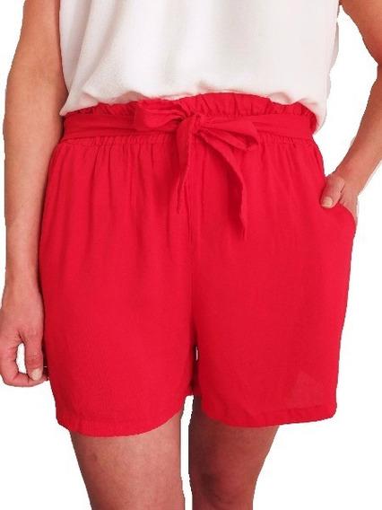 Short Fibrana Rojo Con Lazo Moño Liso Mujer