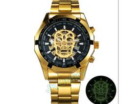Relógio Masculino Dourado Automático A Corda Caveira