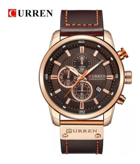Relógio Curren 8291 - Marrom Pulseira Em Couro.
