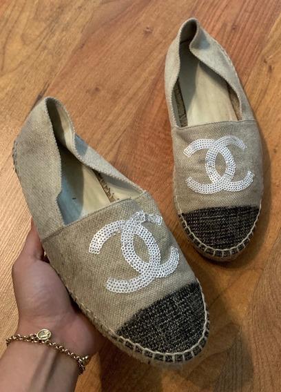 Hermosos Zapatos Flats Chanel Spadrilles Bicolor 24 Original