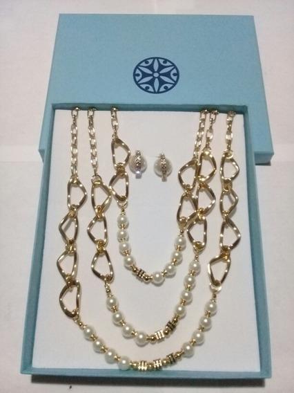 Set De Collar Y Par De Aretes Marca Nice 4 Baños De Oro