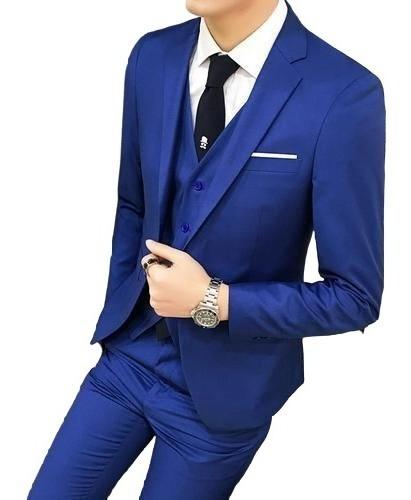Terno Slim Masculino Azul Royal- Paletó+calça+colete+barato